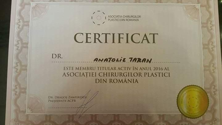 certificat chirurg estetician Anatolie Taran