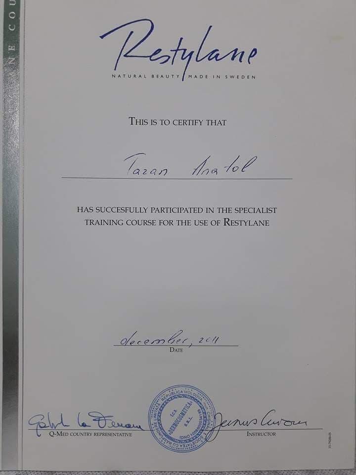 certificat medic plastician Anatolie Taran