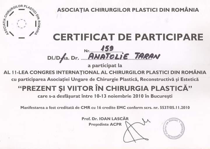 diploma dr estetician Anatolie Taran