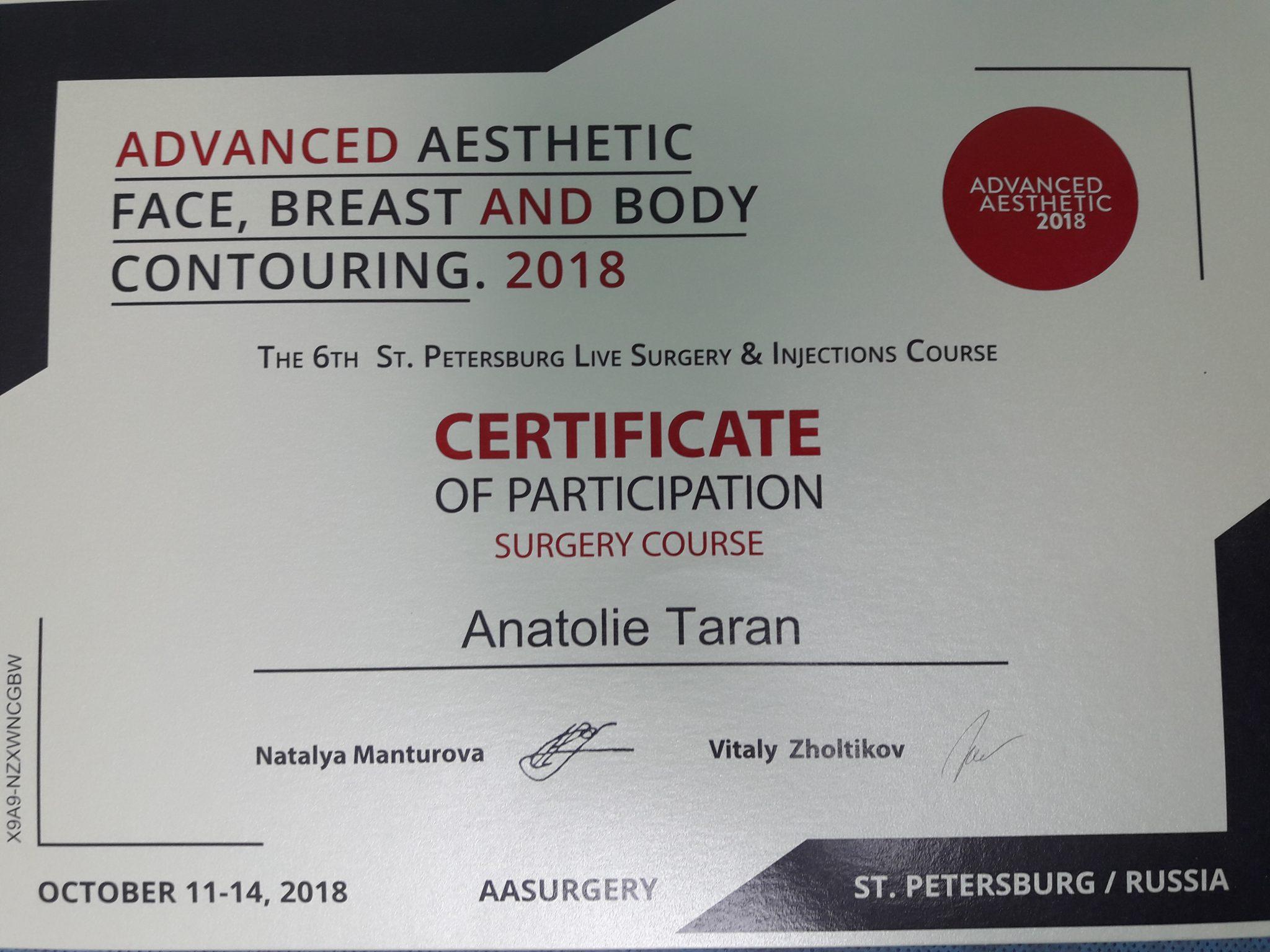 anatolie taran certificat advanced aesthetic
