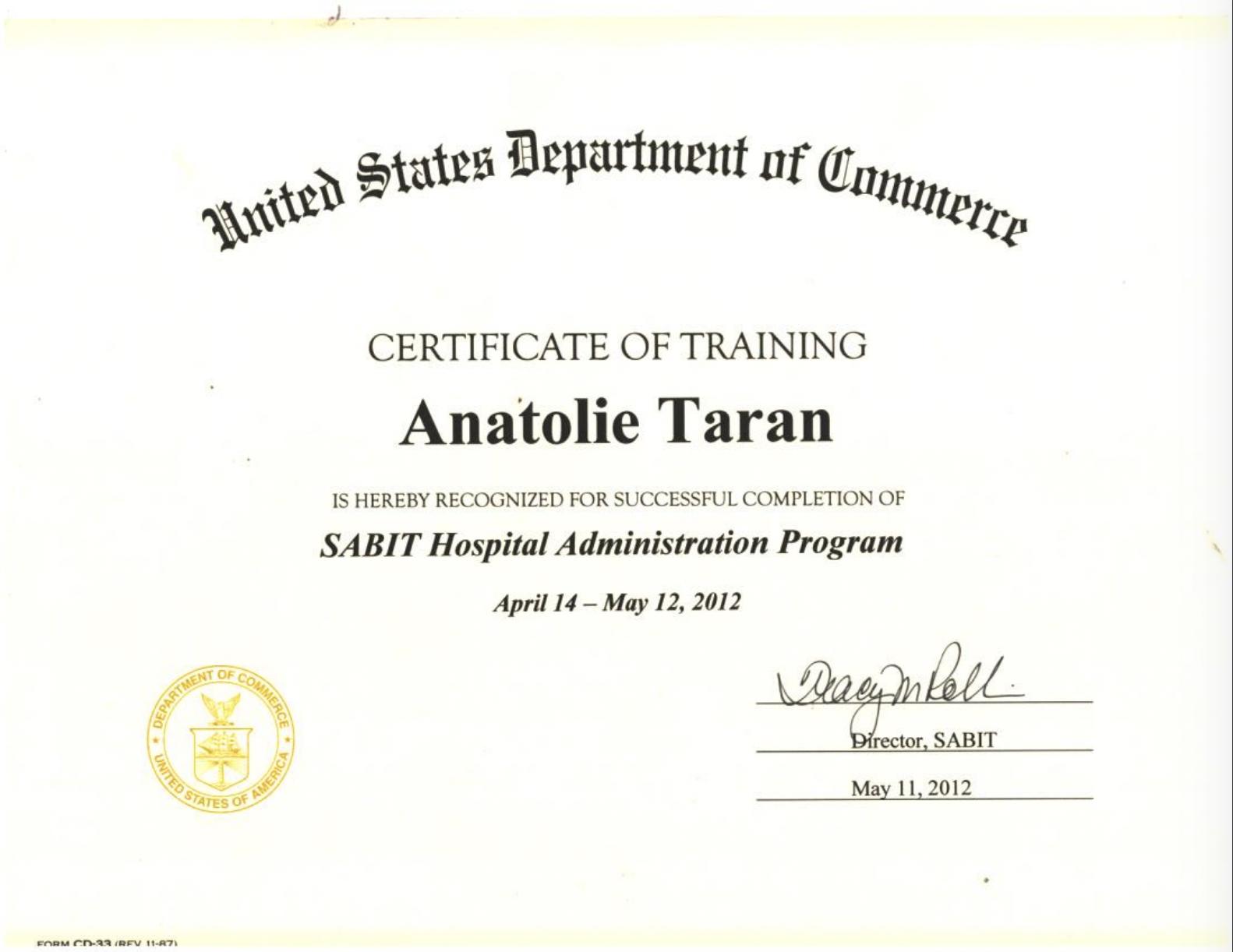 certificat SABIT Hospital Administration Program
